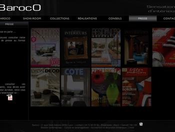 Site internet Baroco - Ecran page Presse