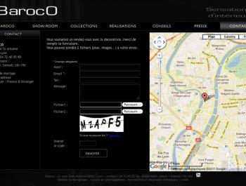 Site internet Baroco - Ecran page contact